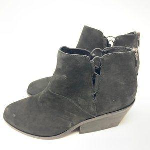 Eileen Fisher Black Suede Heeled Ankle Booties 9